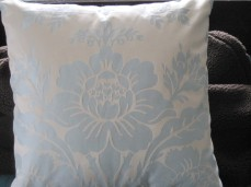 I am sometimes able to make up cushions from fabric left over from clients curtains. On this cushion for a teen girls bedroom I was able to centre the design motif.